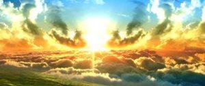 Rayons de soleil sortant des nuages, selon la lumière divine