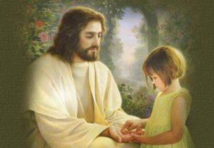 Jésus Christ donnant la main à une petite fille