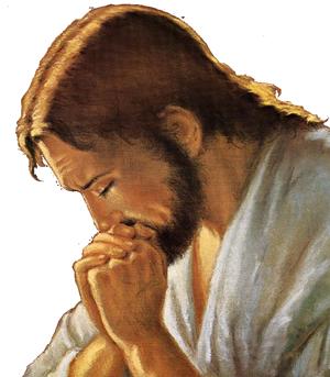 Jésus Christ de profil, priant Dieu