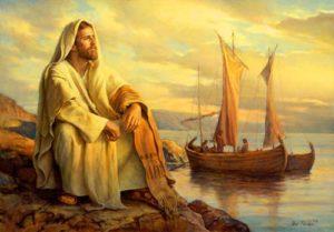 Tableau de Jésus près de la mer, avec un bateau