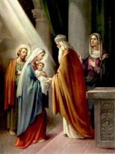 Peinture de la présentation de Jésus au temple, le 1er janvier