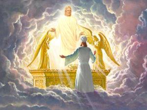 Dieu en face de Jésus sur l'autel sacré