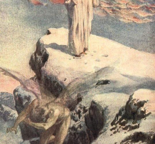 Satan essaie de tenter Jésus dans le desert