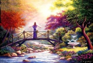 Femme sur un pont devant la lumière divine