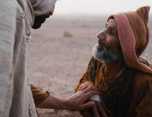 Jésus tenant la main à un lépreux