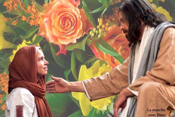 Jésus parle à une femme sur fond de fleurs