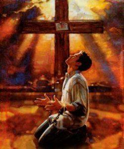 Peinture représentant un homme enchaîné devant la croix pour le délivrer