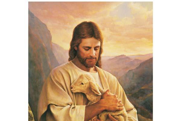 Jésus avec un agneau dans ses bras