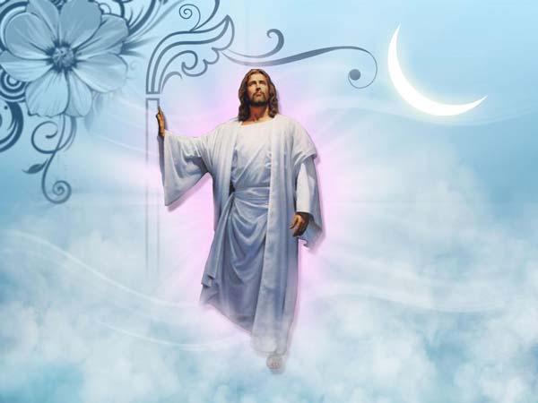 Image de Jésus dans les nuages de Dieu