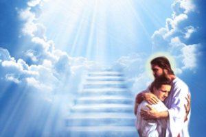 Homme dans les bras de Jésus au pied des marches vers le ciel.