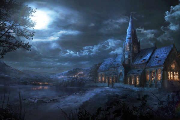 Illustration d'une église éclairée par la lune