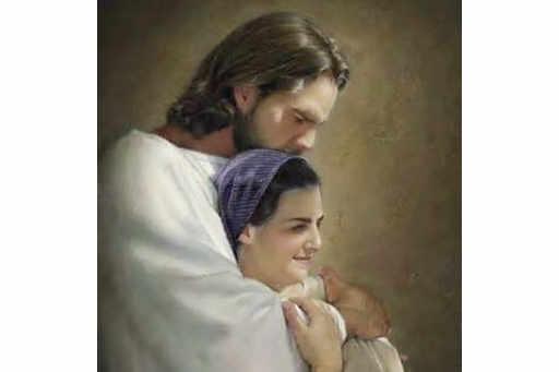 Jésus tient dans ses bras une femme qui souffre