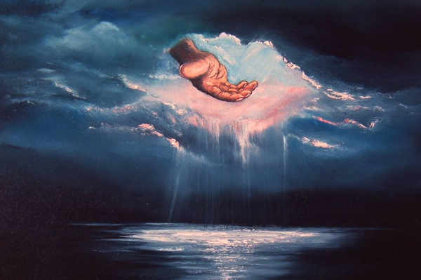 Main de Dieu à travers les nuages pour éclairer nos nuits